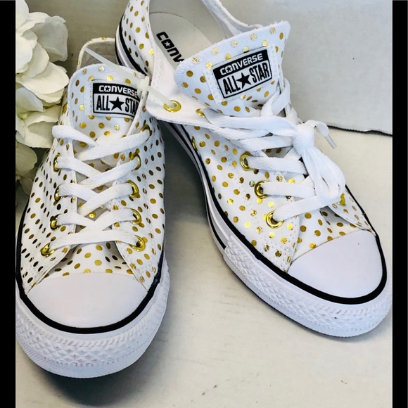 2f128b1faa47 Converse Shoes - New Converse All Star White Gold Polka Dots Kicks!